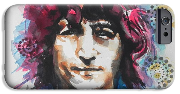 Red Abstract iPhone Cases - John Lennon..Up Close iPhone Case by Chrisann Ellis