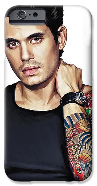 Musician Art iPhone Cases - John Mayer Artwork  iPhone Case by Sheraz A