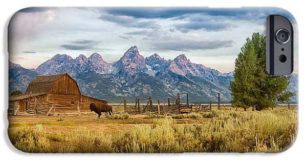 Horizontal iPhone Cases - John Moulton Barn - Grand Teton National Park iPhone Case by Andres Leon