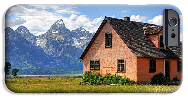 Pioneer Homes iPhone Cases - John Moulton Home Grand Teton National Park iPhone Case by Gary Whitton