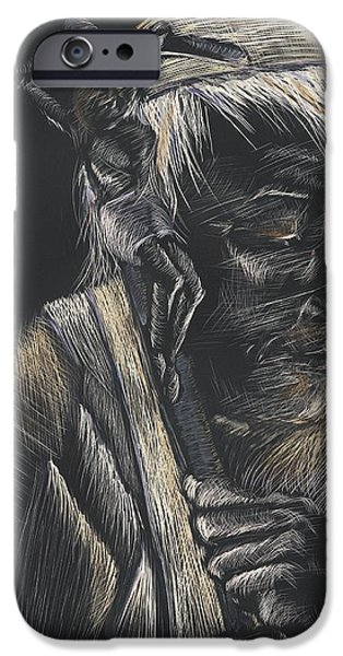 Religious Drawings iPhone Cases - John Paul II iPhone Case by Michelle Miller