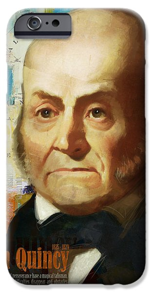 Thomas Jefferson Paintings iPhone Cases - John Quincy Adams iPhone Case by Corporate Art Task Force