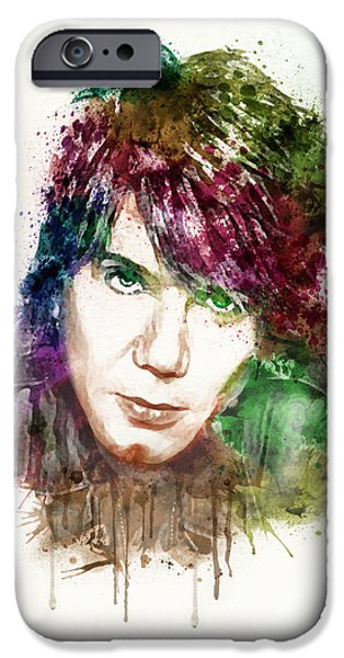 Red Rock Mixed Media iPhone Cases - John Rzeznik watercolor iPhone Case by Marian Voicu