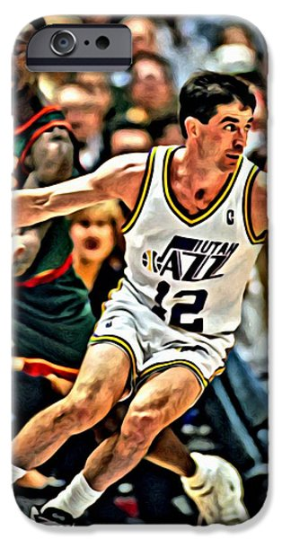 John Stockton iPhone Cases - John Stockton iPhone Case by Florian Rodarte