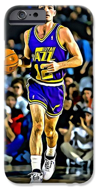 John Stockton iPhone Cases - John Stockton Portrait iPhone Case by Florian Rodarte