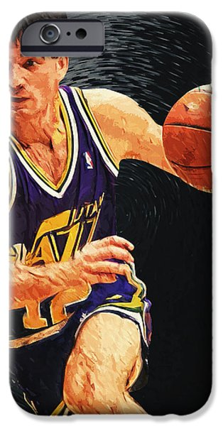 John Stockton iPhone Cases - John Stockton iPhone Case by Taylan Soyturk
