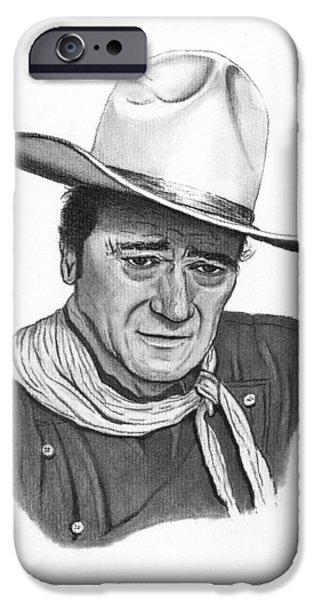 John Wayne Drawings iPhone Cases - John Wayne #1 iPhone Case by Jay Kinney