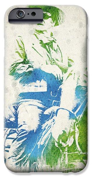Splutter Digital Art iPhone Cases - John Wayne  iPhone Case by Aged Pixel