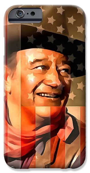 True Grit iPhone Cases - John Wayne American Cowboy iPhone Case by Dan Sproul