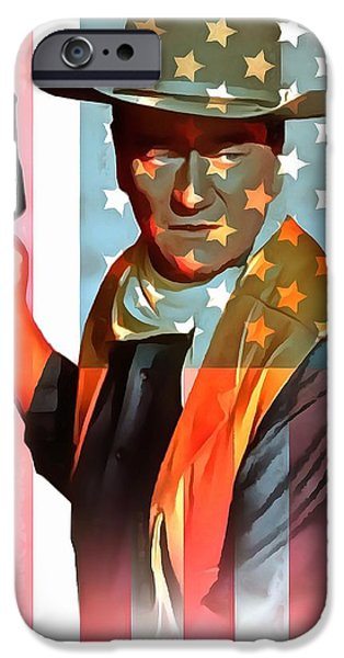 True Grit iPhone Cases - John Wayne American Icon iPhone Case by Dan Sproul