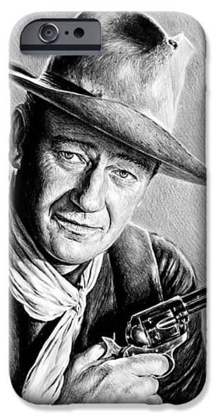 1950s Movies iPhone Cases - John Wayne  iPhone Case by Andrew Read