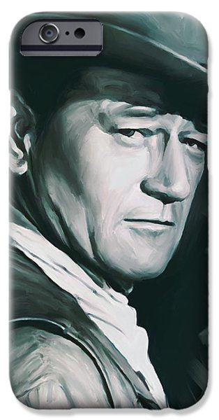 Celebrities Art iPhone Cases - John Wayne Artwork iPhone Case by Sheraz A