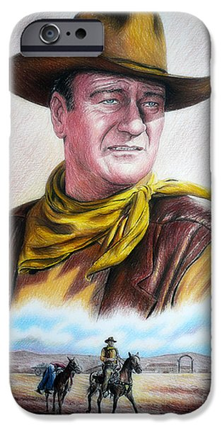 Patriotic Art Drawings iPhone Cases - John Wayne Captured iPhone Case by Andrew Read