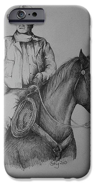 John Wayne Drawings iPhone Cases - John Wayne iPhone Case by Catherine Howley