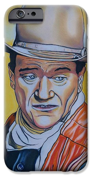 The Horse Pastels iPhone Cases - John Wayne iPhone Case by Kevin Hubbard