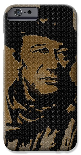 True Grit Drawings iPhone Cases - John Wayne Lives iPhone Case by Robert Margetts