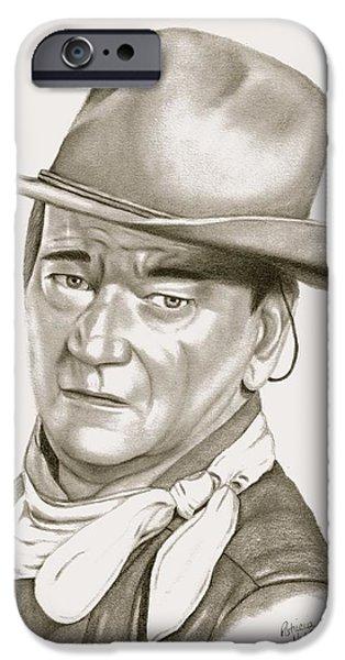 John Wayne Drawings iPhone Cases - John Wayne iPhone Case by Patricia Hiltz