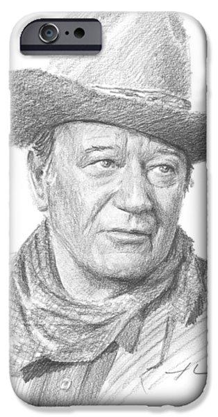 John Wayne Drawings iPhone Cases - John Wayne Pencil Portrait iPhone Case by Mike Theuer