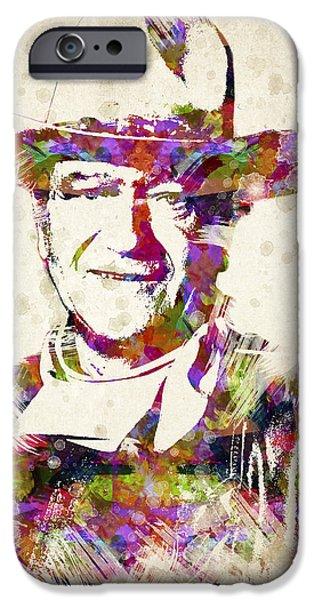 Splutter Digital Art iPhone Cases - John Wayne Portrait iPhone Case by Aged Pixel