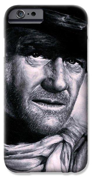 John Wayne Drawings iPhone Cases - John Wayne iPhone Case by Ryan Jacobson