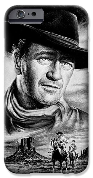 1950s Movies iPhone Cases - John Wayne Searching iPhone Case by Andrew Read