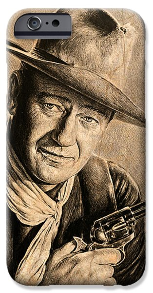 1950s Movies iPhone Cases - John Wayne sepia scratch iPhone Case by Andrew Read