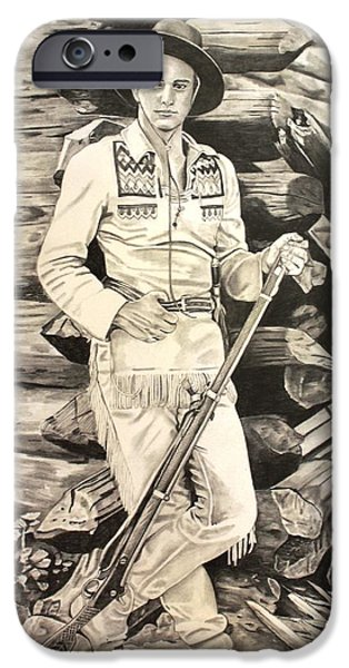 John Wayne Drawings iPhone Cases - John Wayne-The Big Trail iPhone Case by Randy Mitchell