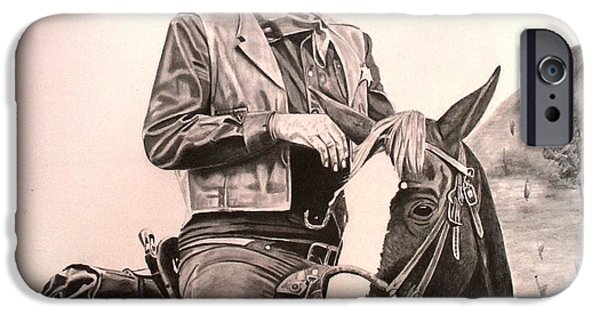 True Grit Drawings iPhone Cases - John Wayne-True Grit iPhone Case by Randy Mitchell