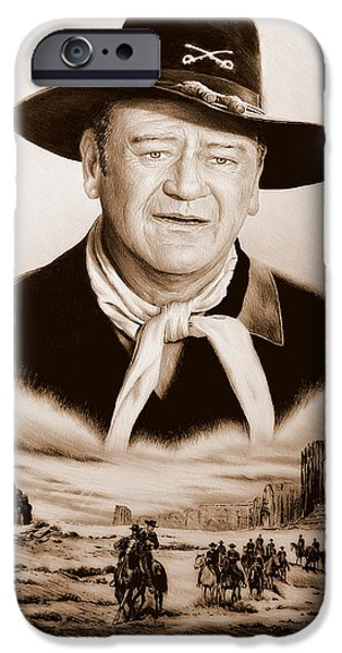 Uniform Drawings iPhone Cases - John Wayne US Cavalry iPhone Case by Andrew Read