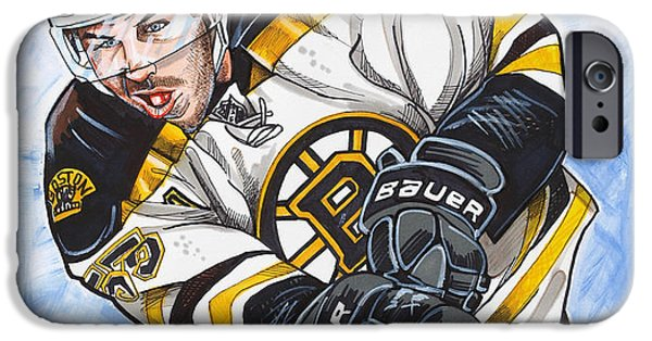 Hockey Drawings iPhone Cases - Johnny Boychuk iPhone Case by Dave Olsen
