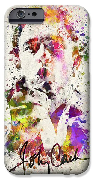 Singer-songwriter iPhone Cases - Johnny Cash  iPhone Case by Aged Pixel
