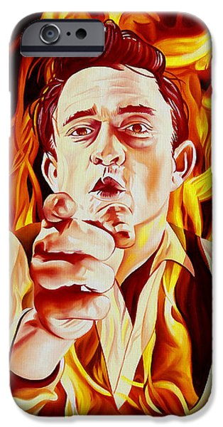 Morton iPhone Cases - Johnny Cash And it burns iPhone Case by Joshua Morton