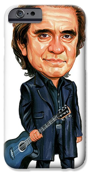 Art iPhone Cases - Johnny Cash iPhone Case by Art