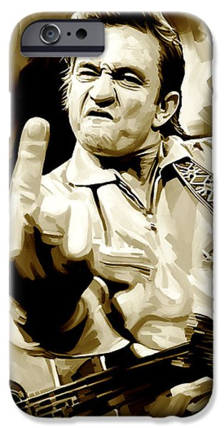 Musician Art iPhone Cases - Johnny Cash Artwork 2 iPhone Case by Sheraz A