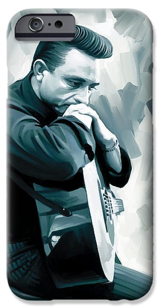 Musician Art iPhone Cases - Johnny Cash Artwork 3 iPhone Case by Sheraz A