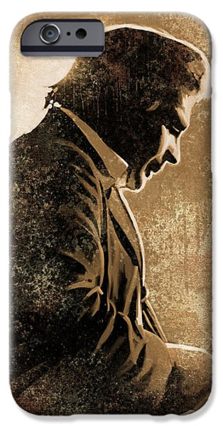Johnny iPhone Cases - Johnny Cash Artwork iPhone Case by Sheraz A