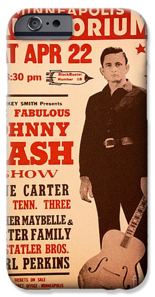 Carter Family iPhone Cases - Johnny Cash iPhone Case by Bob Hislop