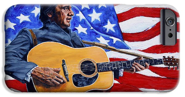 Old Glory Paintings iPhone Cases - Johnny Cash iPhone Case by John Lautermilch