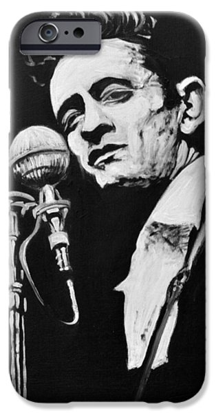 Nashville Paintings iPhone Cases - Johnny Cash iPhone Case by Melissa O