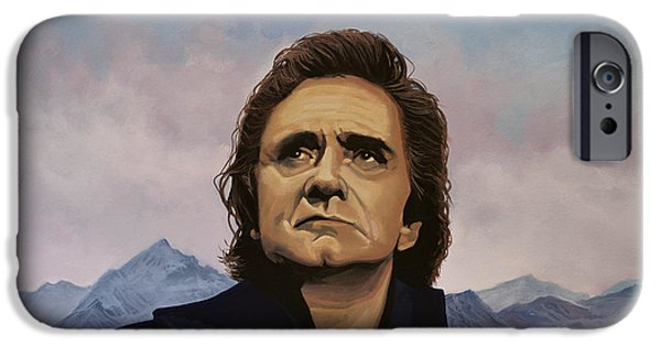 Singer-songwriter iPhone Cases - Johnny Cash iPhone Case by Paul Meijering