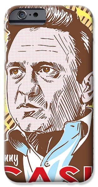 Johnny Cash Pop Art iPhone Case by Jim Zahniser