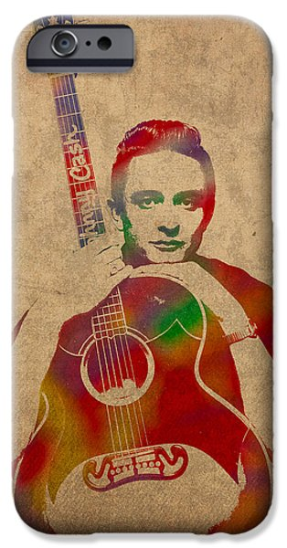 Johnny iPhone Cases - Johnny Cash Watercolor Portrait on Worn Distressed Canvas iPhone Case by Design Turnpike