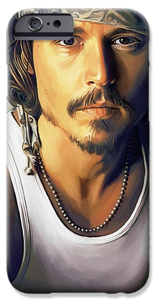 Celebrities Art iPhone Cases - Johnny Depp Artwork iPhone Case by Sheraz A