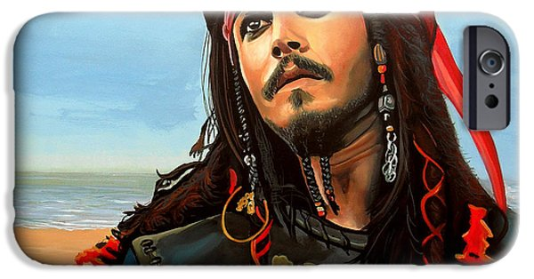 Famous People iPhone Cases - Johnny Depp as Jack Sparrow iPhone Case by Paul  Meijering