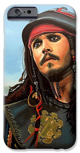Film iPhone Cases - Johnny Depp as Jack Sparrow iPhone Case by Paul  Meijering