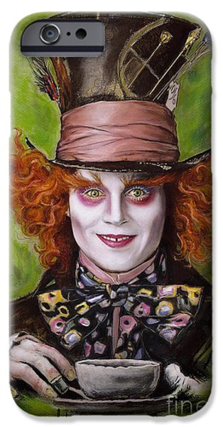 Johnny Depp as Mad Hatter iPhone Case by Melanie D