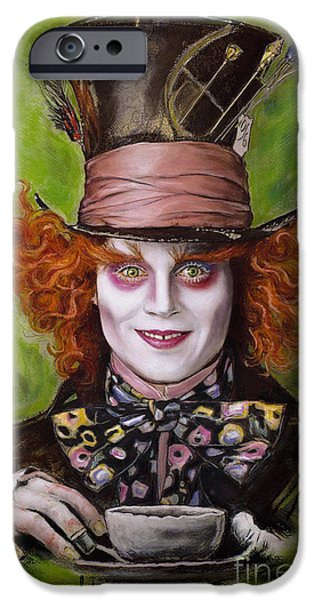 Mad Hatter iPhone Cases - Johnny Depp as Mad Hatter iPhone Case by Melanie D