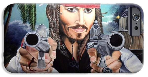 Pirate Ship Mixed Media iPhone Cases - Johnny Depp  Jack Sparrow iPhone Case by Kathleen Parr