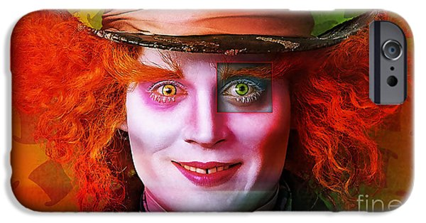 Alice In Wonderland Mixed Media iPhone Cases - Johnny Depp Painting iPhone Case by Marvin Blaine