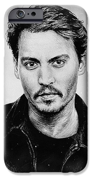 Hairstyle Digital iPhone Cases - Johnny Depp stained iPhone Case by Andrew Read